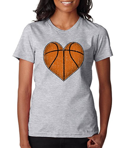 SignatureTshirts Womens Basketball Heart Crewneck Tee Grey