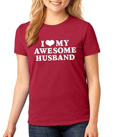 SignatureTshirts Womens I Heart My Awesome Husband Funny Valentine's Day T-Shirt Cute Couple Husband Wife Gift tee