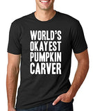 SignatureTshirts Men's T-Shirt -World's Okayest Pumpkin Carver - Funny & Awesome 100% Cotton