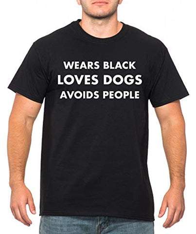 SignatureTshirts Men's Wears Black Loves Dogs Avoids People T-Shirt