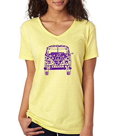 SignatureTshirts Women's 70's Hippy Summer Fashion Flower Bus T-Shirt