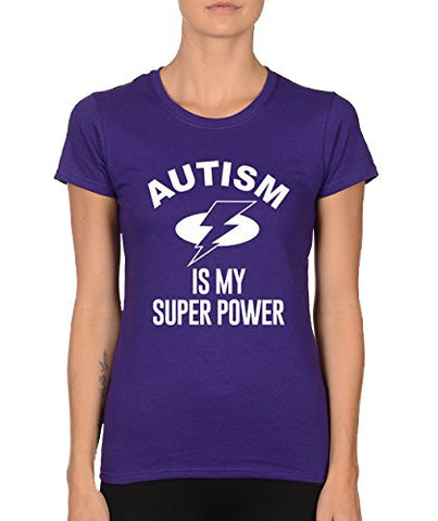 SignatureTshirts Womens Autism is My Super Power Crewneck Tee Purple