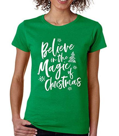 SignatureTshirts Women's Believe in The Magic of Christmas Crew Neck T-Shirt