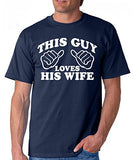 SignatureTshirts Men's This Guy Loves His Wife Crew Neck Husband Family Shirt