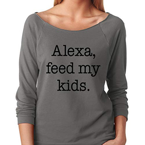 SignatureTshirts Women's Alexa Feed My Kids Funny Amazon Joke Raglan T-Shirt