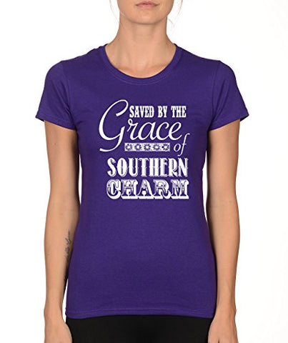 SignatureTshirts Woman's Crew Saved by The Grace of Southern Charm Cute Funny Shirt