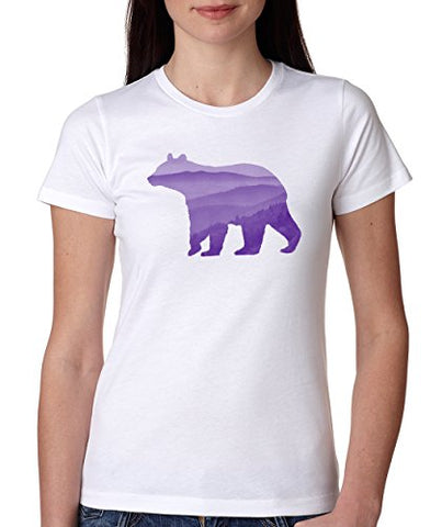 SignatureTshirts Women's Bear hilly Horizon Crew Neck Cool Cute Scenic T-Shirt