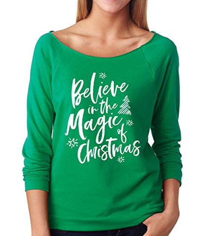 SignatureTshirts Womens Believe in The Magic of Christmas Raglan Tee