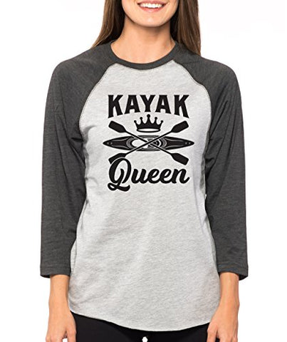 SignatureTshirts Woman's Kayak Queen 3/4 Sleeve Raglan Cute Outdoors Oars T-Shirt