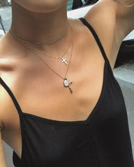 18k Baby Cross Necklace