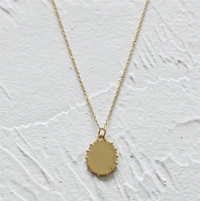18k Oval Disk Necklace
