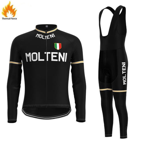 Molteni Black FLEECE Retro Top & Bib Set