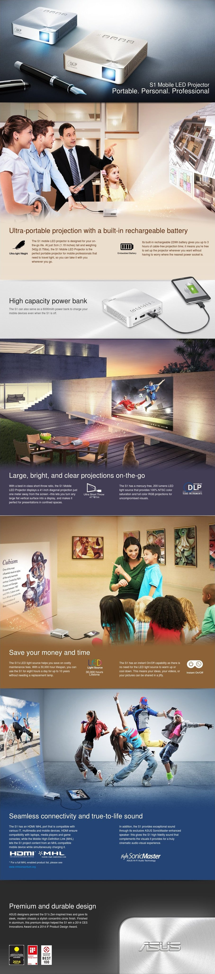ASUS S1 Portable LED Projector, 200 Lumens, Built-in 6000mAh Battery, Up to 3-hour Projection, Power Bank, HDMI/MHL