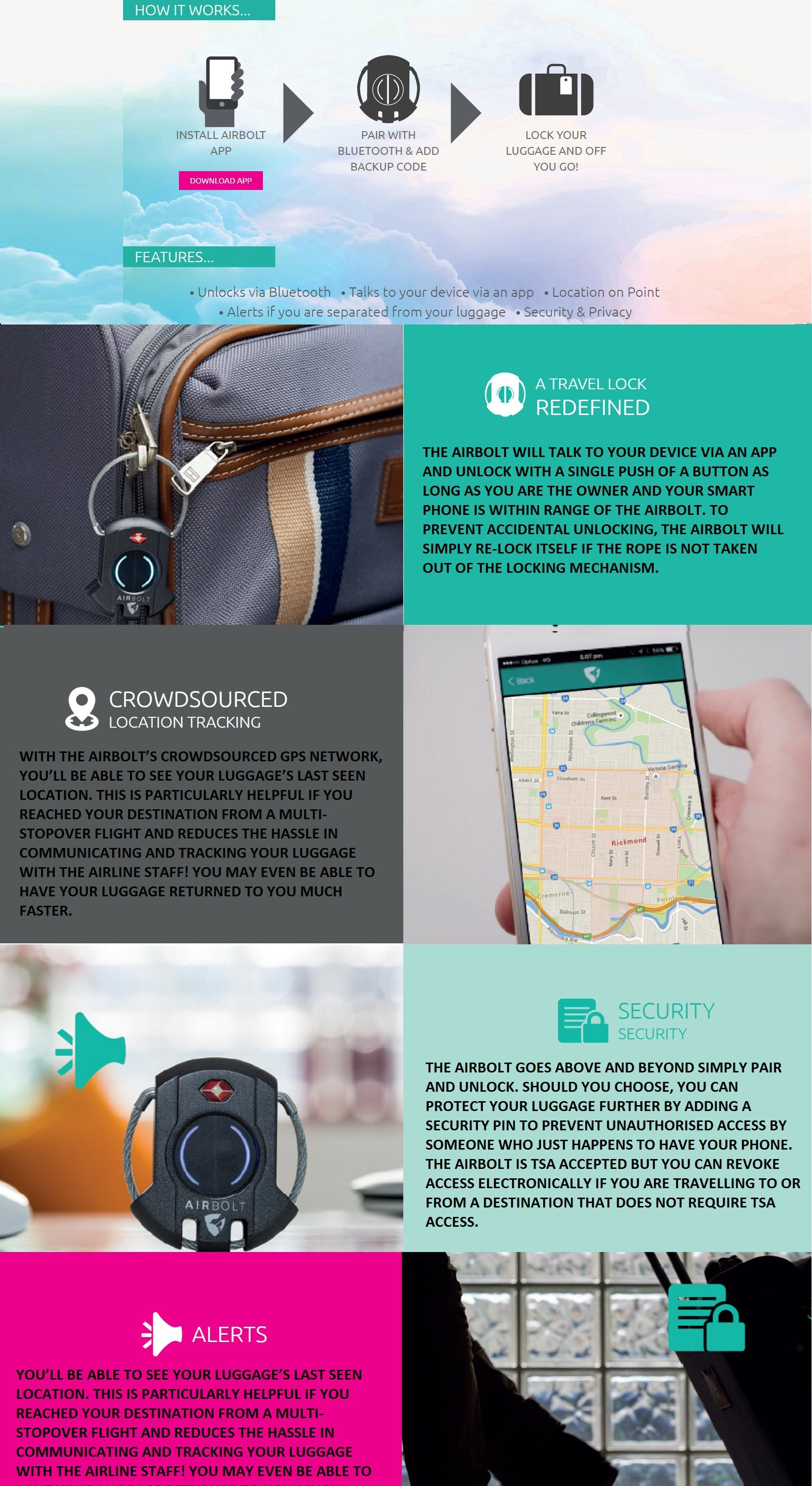 Airbolt Smart Bluetooth Traveller Lock Australia