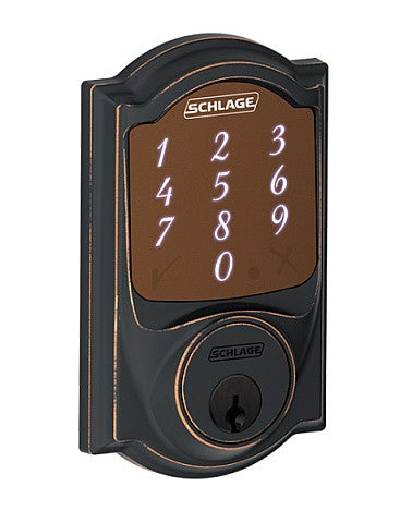 Schlage Sense Smart Deadbolt With Camelot Trim Antique Brass