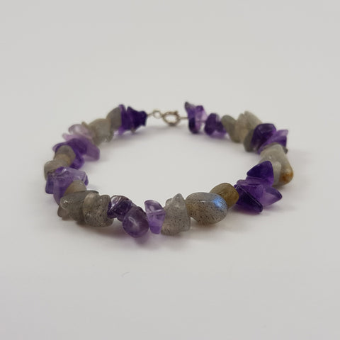 Amethyst Labradorite Bracelet - Crystals - Gemstones - Magical Earth Bug