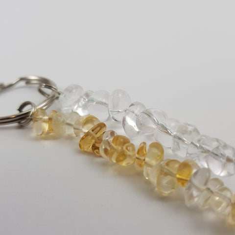 Citrine & Clear Quartz Keychain - Crystals - Gemstones - Magical Earth Bug