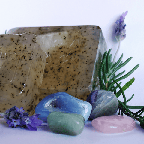 Lavender & Rosemary Crystal Infused Soap - Crystals - Gemstones - Magical Earth Bug