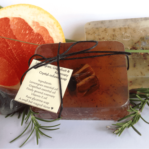 Lemongrass, Grapefruit & Rosemary Crystal-Infused Soap - Crystals - Gemstones - Magical Earth Bug