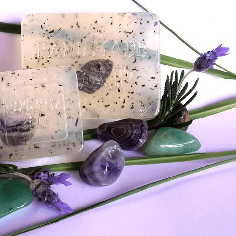 Lemongrass & Lavender Crystal Infused Soap - Crystals - Gemstones - Magical Earth Bug