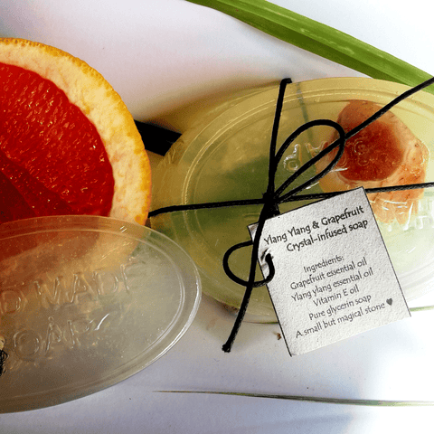 Ylang Ylang & Grapefruit Crystal-Infused Glycerin Soap - Crystals - Gemstones - Magical Earth Bug