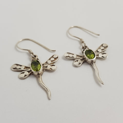 Peridot Silver Earrings - Crystals - Gemstones - Magical Earth Bug