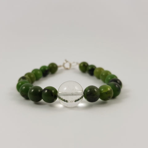 Nephrite & Clear Quartz Bracelet with Sterling Silver - Crystals - Gemstones - Magical Earth Bug