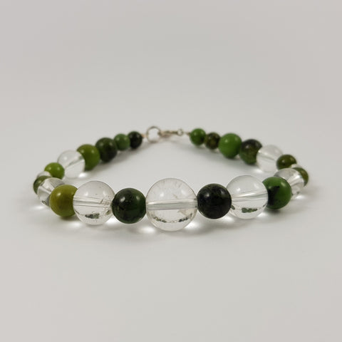 Nephrite & Clear Quartz Sterling Silver Bracelet - Crystals - Gemstones - Magical Earth Bug