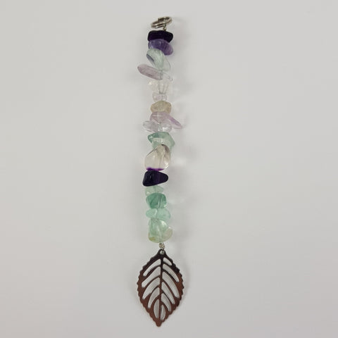 Fluorite Leaf Keychain - Crystals - Gemstones - Magical Earth Bug