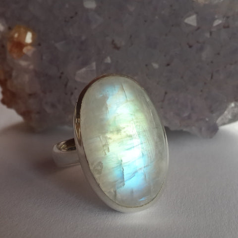 Blue Fire Moonstone Ring - Crystals - Gemstones - Magical Earth Bug