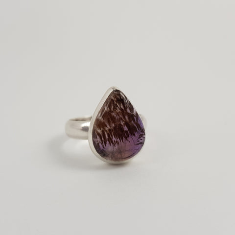 Amethyst & Cacoxenite Ring - Crystals - Gemstones - Magical Earth Bug