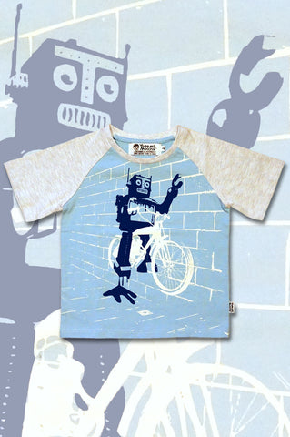 Boys Robot tshirt riding a bike - Boys Graffiti t-shirt