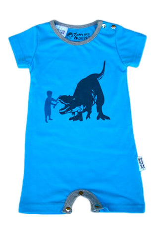 Baby Boy Rompers - Dinosaur Fetch Print - YoungandMoodie