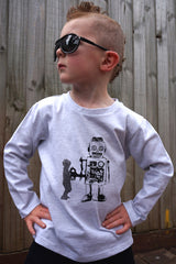 Boys Long Sleeve Top - Robot Design - YoungandMoodie  - 4