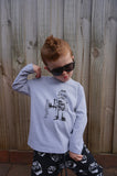 Boys Long Sleeve Top - Robot Design - YoungandMoodie  - 2