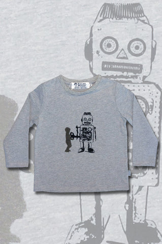 Boys Long Sleeve Top - Robot Design - YoungandMoodie  - 1