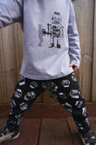 Boys Long Sleeve Top - Robot Design - YoungandMoodie  - 3