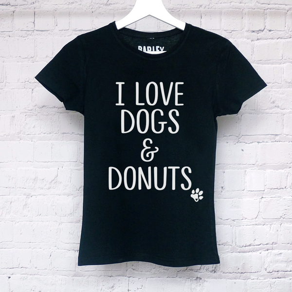 I Love Dogs & Donuts ladies tee