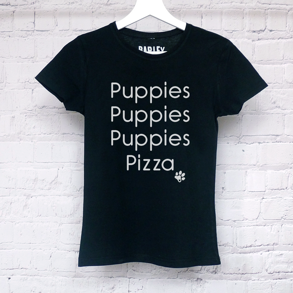 Puppies Puppies Puppies Pizza ladies tee