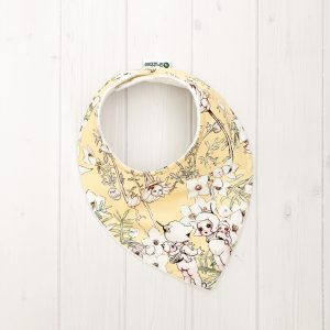 Grubbee - Dribble Bibs - May Gibbs Flannel Flowers Lemon - August Lane