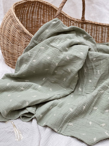 Pop Ya Tot - Embroidered Summer Blanket - Botanic - August Lane