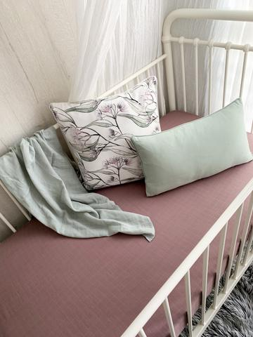 Pop Ya Tot - Muslin Cot Sheet - Mauve It - August Lane