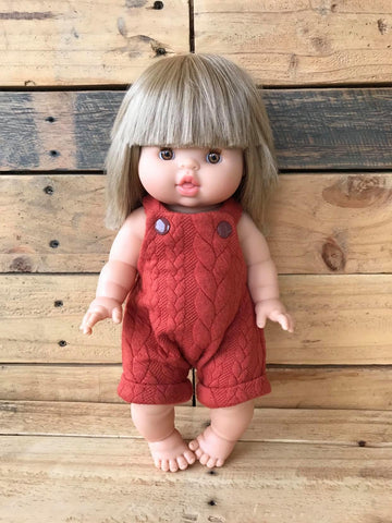 Doll Romper - Riley Rust Cable Knit - 34cm (Minikane/ Paola Reina) - August Lane