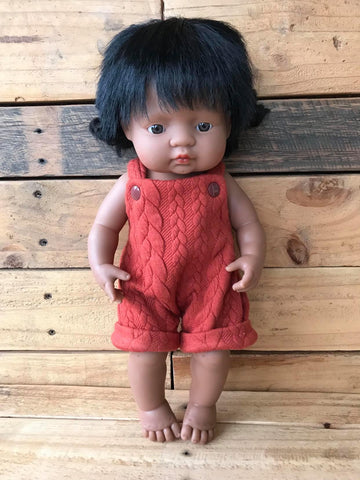 Doll Romper - Riley Rust Cable Knit - 38cm (Miniland) - August Lane