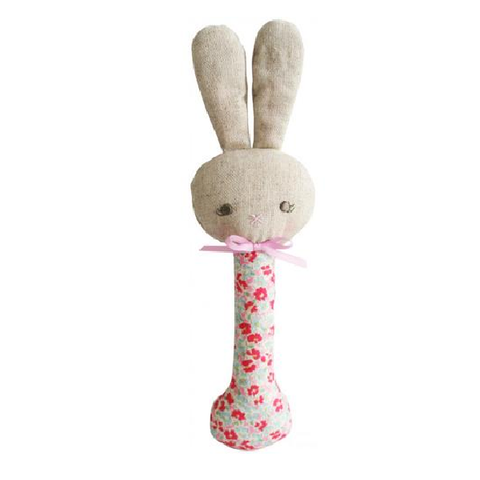 Alimrose - Rosie Bunny Stick Rattle - Sweet Floral