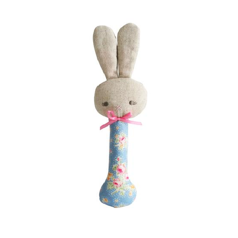 Alimrose - Rosie Bunny Stick Rattle - Blossom Blue/Pink