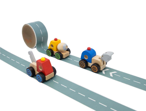 Toyslink- Wooden Truck With Road Adhesive Tape - August Lane