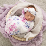 Snuggle Hunny Kids - Baby Jersey Wrap & Topknot Set - Lilac Skies