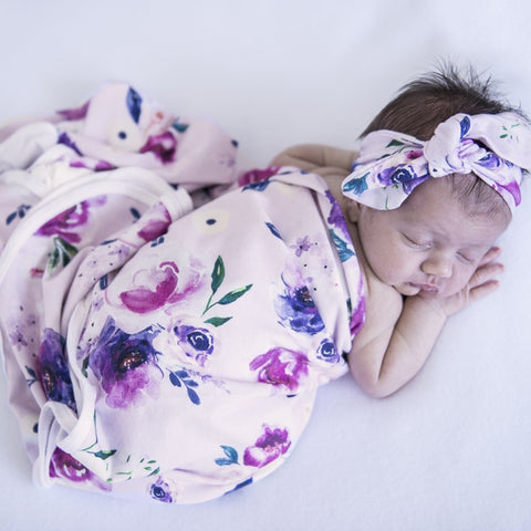 Snuggle Hunny Kids - Baby Jersey Wrap & Topknot Set - Floral Kiss