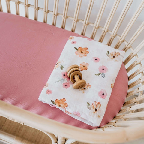 Snuggle Hunny Kids - Bassinet Sheet & Change Mat Cover - Rouge Pink - August Lane